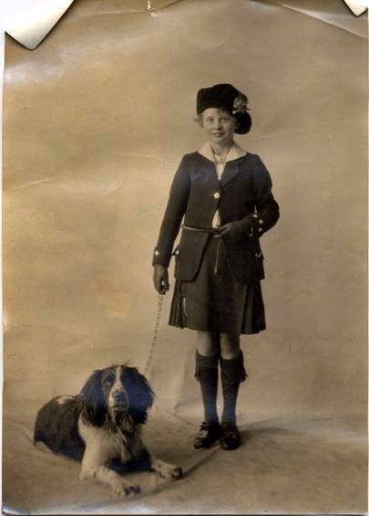 Studio Portrait Girl With Dog 1920s