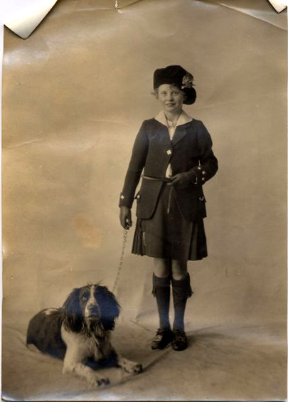 Studio Portrait Girl With Dog 1920s