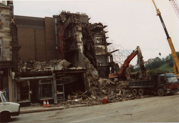 Demolition Of The Palace Hotel After It Was Destroyed by Fire c.1991