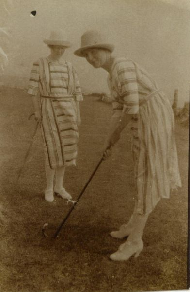 Two Ladies Playing Golf With Walking Sticks And No Golf Balls 1930s