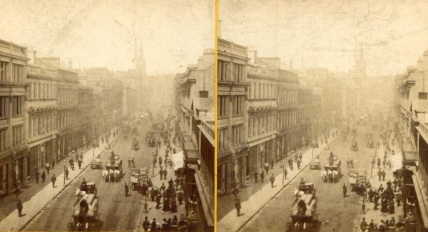 Stereoscope Of Unidentified Main Thoroughfare c.1880