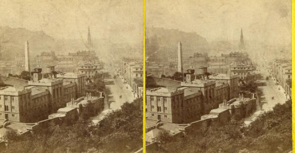 Stereoscope From Calton Hill Looking West With Calton Jail In Foreground 1880s