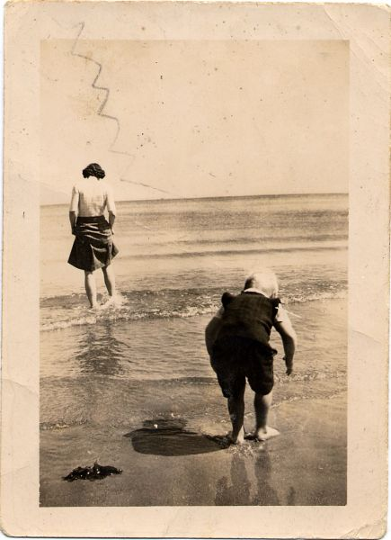 Woman And Boy Paddling In Kinghorn Bay 1945