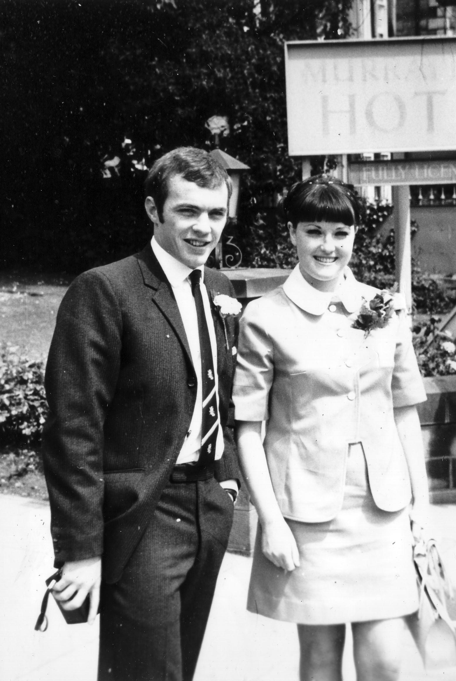 Couple On Their Wedding Day Outside The Murrayfield Hotel, 28 June 1968