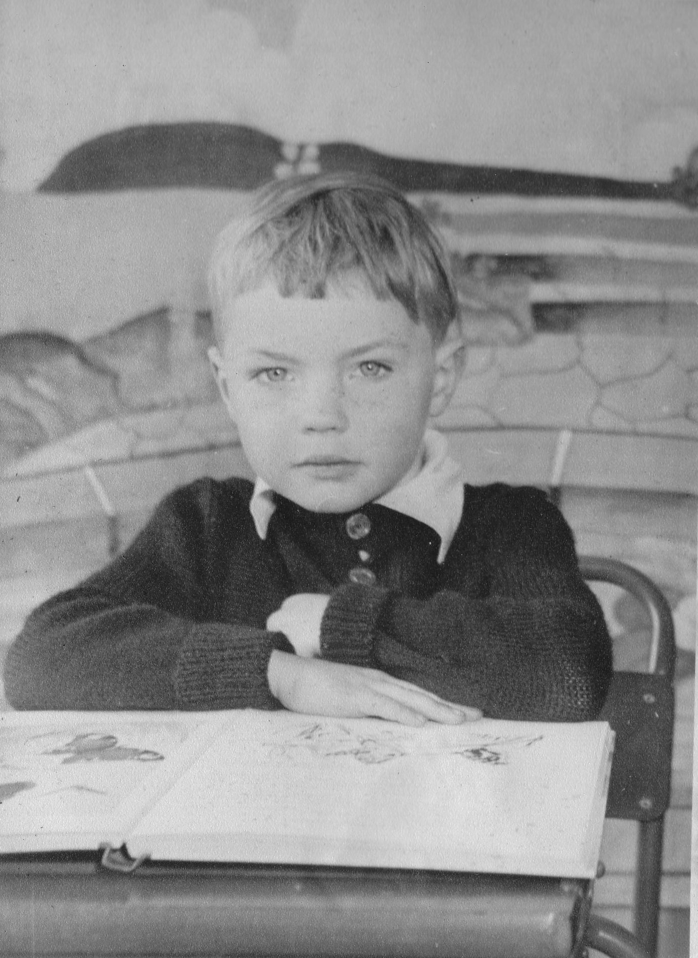 Young Boy Sitting At Desk At Fernieside Primary School 1952