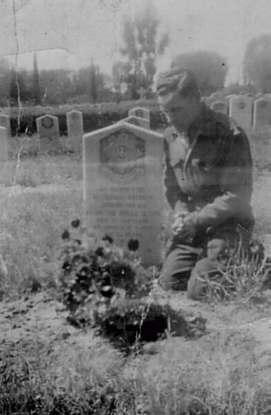 Soldier Praying At Grave Of His Brother 1945