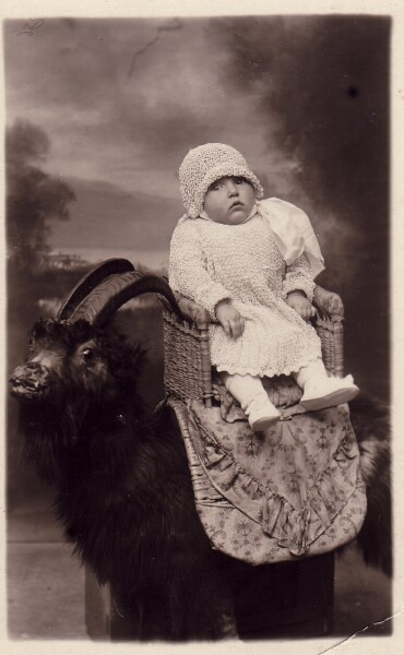 Studio Portrait Young Girl Sitting On Goat c.1924