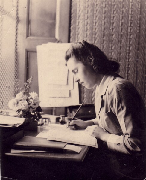 Young Woman Working At Desk In The Scotsman Building 1941