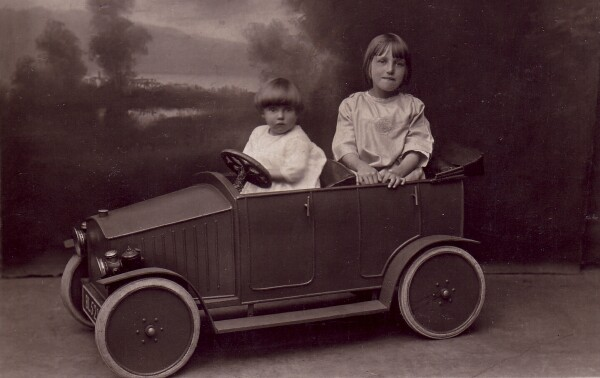 Studio Portrait Two Girls In Pedal Car 1925
