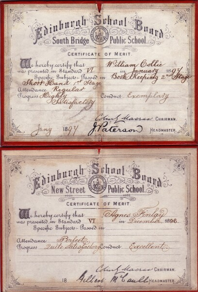Pair Of Night School Certificates From The Edinburgh School Board 1896/97