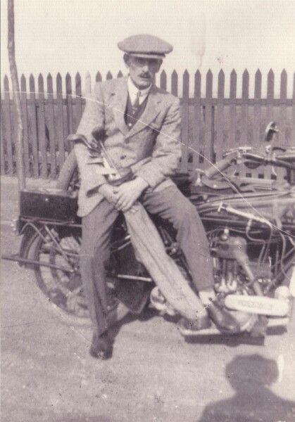 Golfer Sitting On Motorcycle 1922