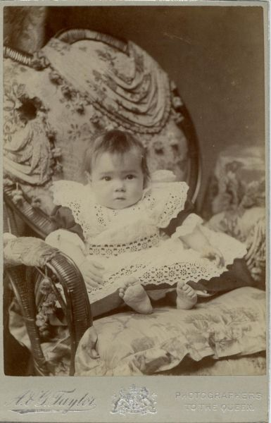 Studio Portrait Young Child Sitting On Chair c.1900