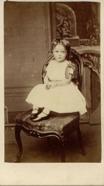 Studio Portrait Young Girl Seated In Chair 1880s
