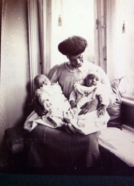 Mother Sitting In Bay Window With Her Twin Sons c.1911