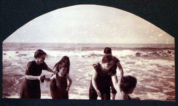 Edwardians Paddling At The Seaside c.1910