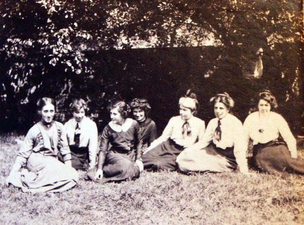 Teachers Of Cranley School For Girls Sitting In Garden c.1912