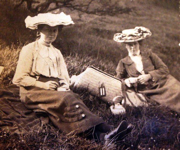 Two Edwardian Ladies On Hillside Picnic c.1902