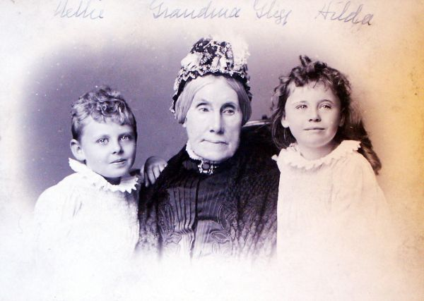 Studio Portrait Grandmother With Her Twin Granddaughters c.1895