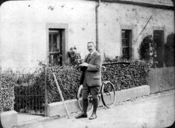 Edwardian Cyclist Standing By Gate c.1901