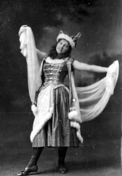 Studio Portrait Young Woman In Dancing Pose c.1902