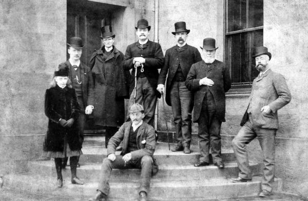 Victorian Gentlemen And Girl Standing By Entrance Steps c.1895
