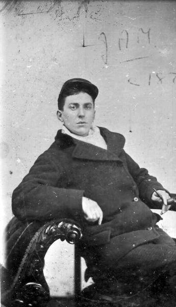 Studio Portrait Young Victorian Gentleman Reclining With Pipe c.1875
