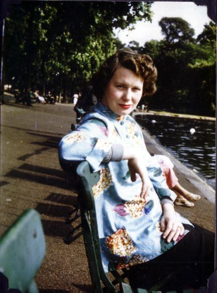 Young Woman Sitting By Edge Of Park Pond 1955