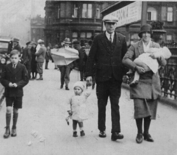 Family Walking Along East End Of Princes Street By Waverley Market 1932
