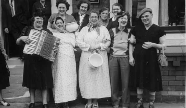 Group in fancy dress outside boarding house c.1950