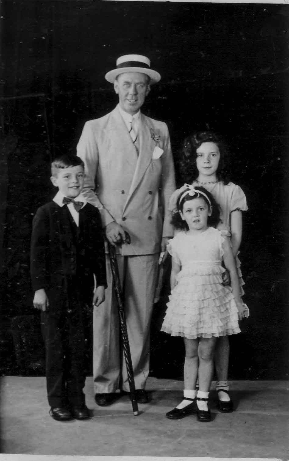 Studio Portrait Dapper Uncle With His Nieces And Nephew 1933