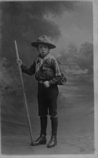 Studio Portrait Boy Scout With Staff c.1909