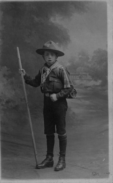 Studio Portrait Boy Scout With Staff c.1909