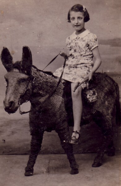 Studio Portrait Girl On Donkey 1939