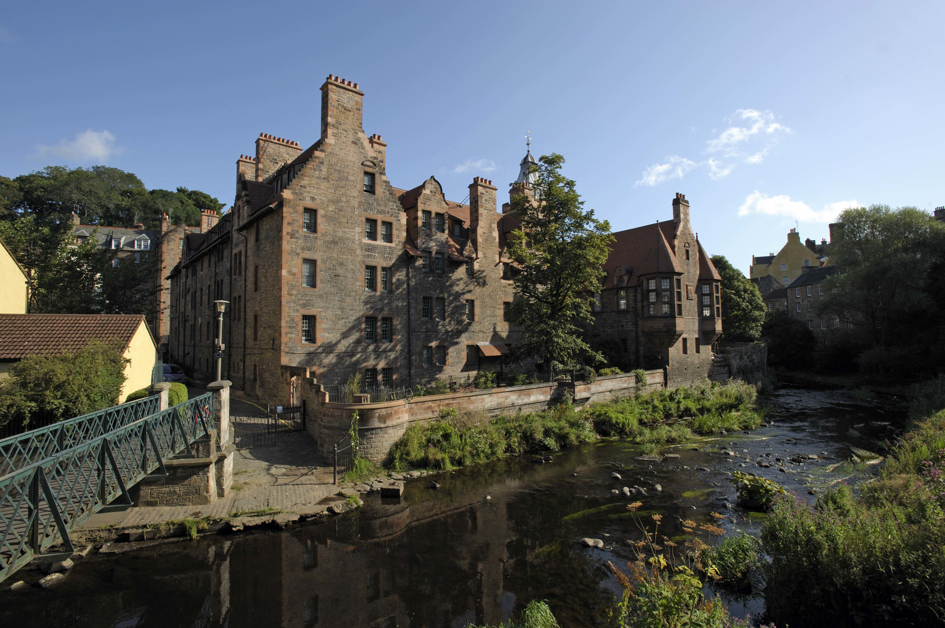 A view of Well Court from the Water Of Leith