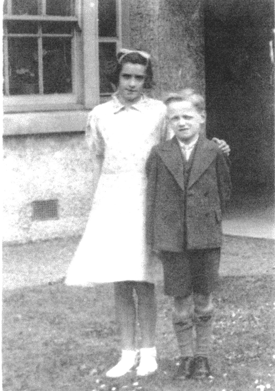 Sister And Brother Standing Outside Balgreen Primary School 1937
