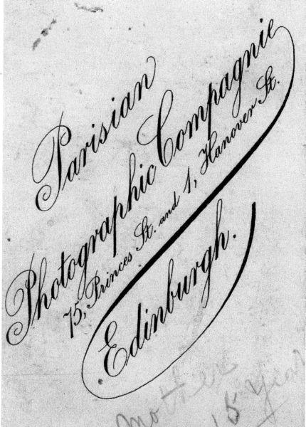 Studio Signature On Reverse of Photograph c.1890