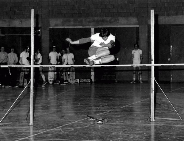Skateboard Competition In Gym Hall, early 1980s