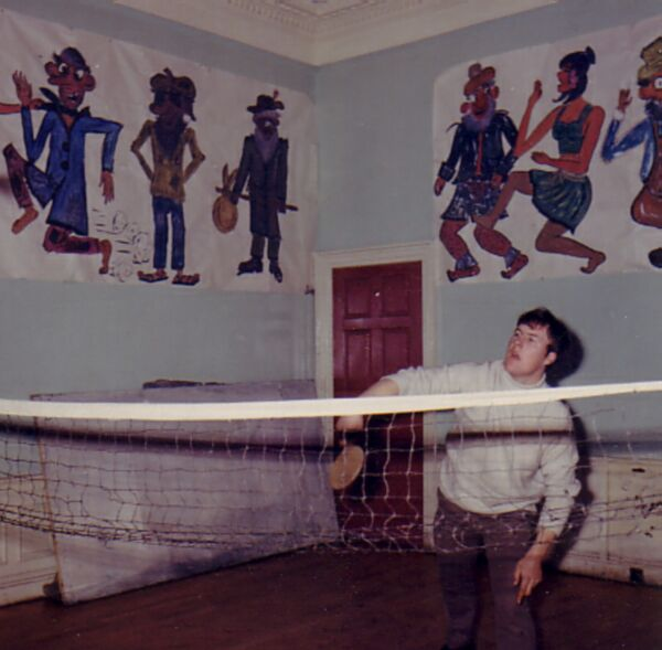 Boy Playing Badminton With Table Tennis Bat At Gracemount Community Centre 1970s