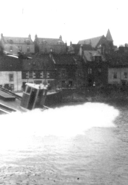 """Fishing Boat """"Ocean's Gift"""" Being Launched Into Newhaven Harbour 1937"""