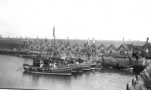 Trawlers Lined Up At Newhaven Harbour 1937