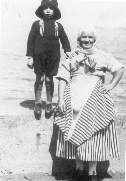 Newhaven Fishwife Standing With Her Nephew 1930s