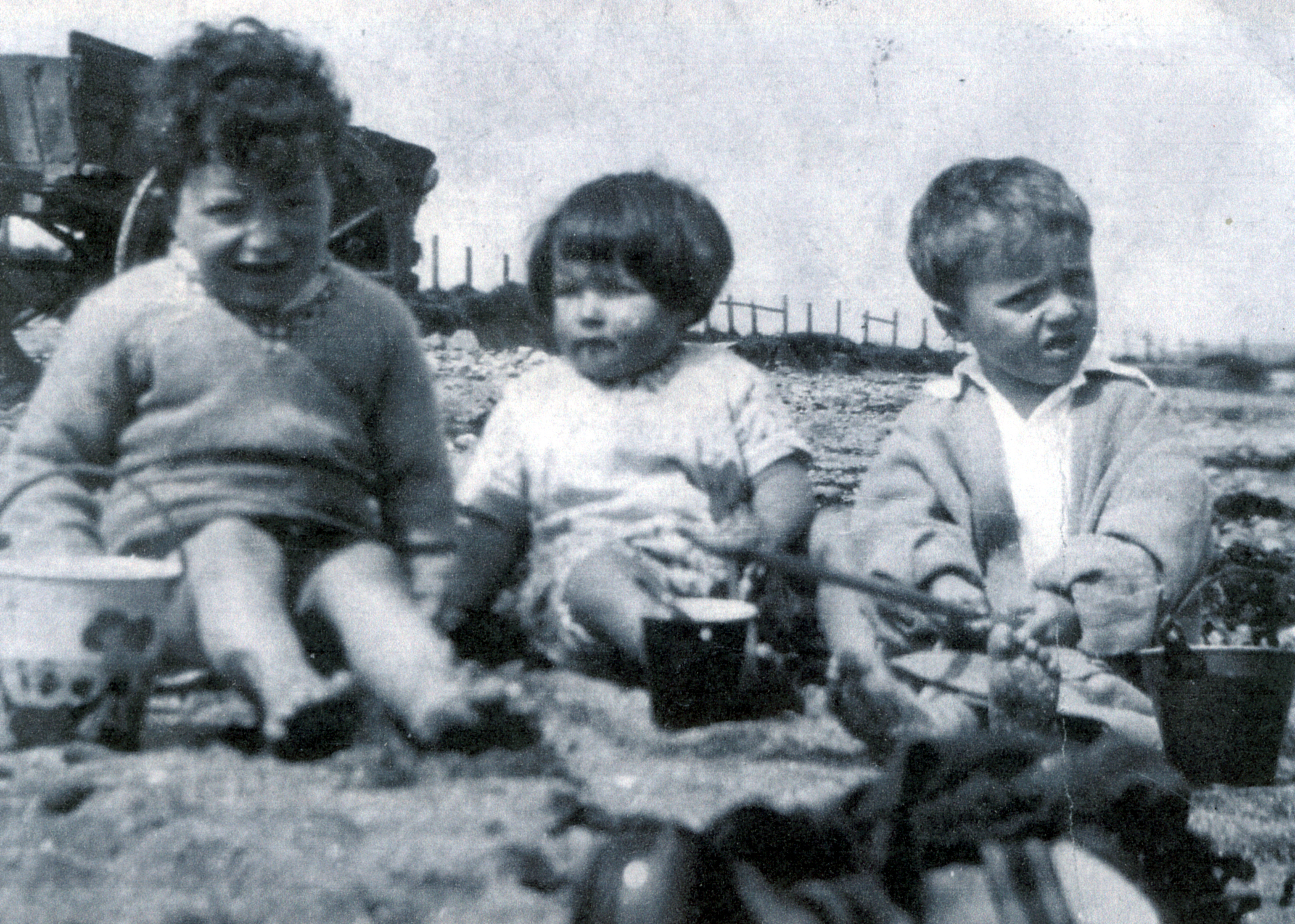 Three Children Playing On The Beach At Burntisland 1934