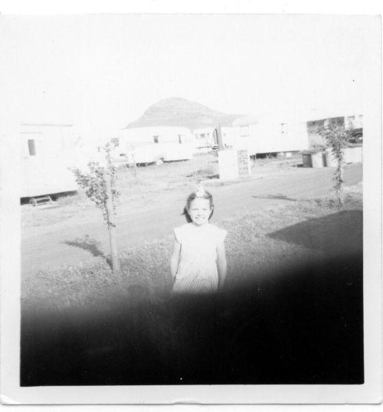 Girl On Caravan Holiday in North Berwick, Berwick Law In Background 1967