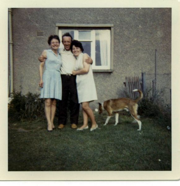 Three Friends In Back Garden With Dog c.1971