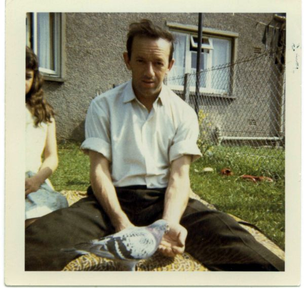 Pigeon Fancier Feeding One Of His Birds 1971