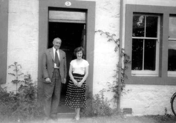 Man And Woman Standing In Leafy Doorway At Crichton Royal Hospital c.1955