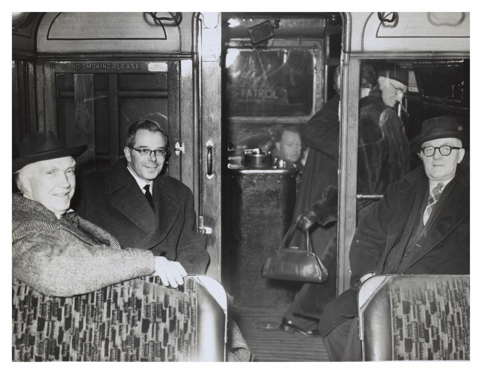 Passengers inside the 'last tram' in 1956
