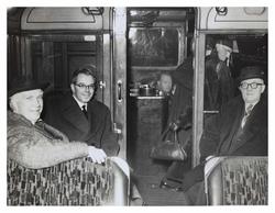 Passengers inside the 'last tram' in 1956