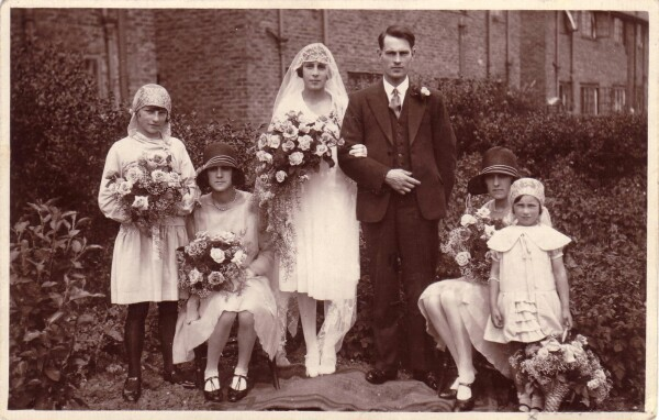 Wedding Couple With Bridesmaids In Garden c.1930