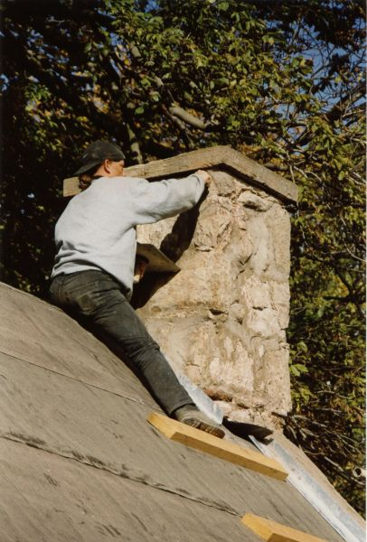 Repointing Chimney Of MacKenzie Cottage, Colinton Village, March 1997